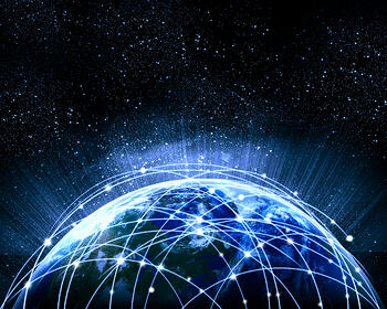 Blue vivid image of globe. Globalization concept. Elements of this image are furnished by NASA-1