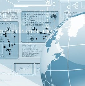 Blue globe on the digital technolog-1