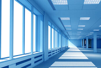 interior of an open office space in blue tones made in 3d