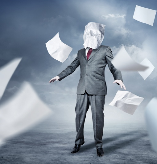 Man in paper storm