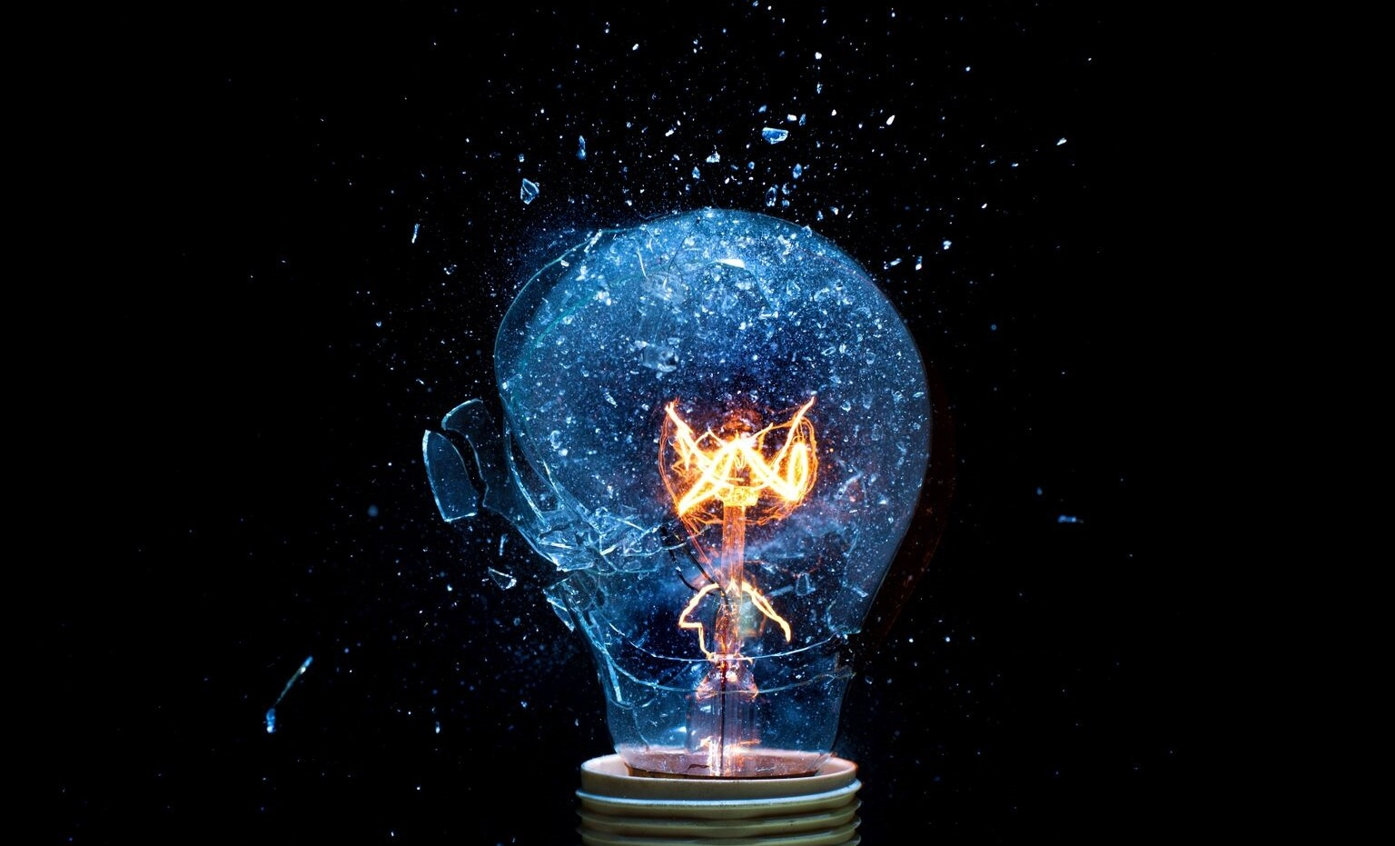 Light bulb shattering with glowing filament